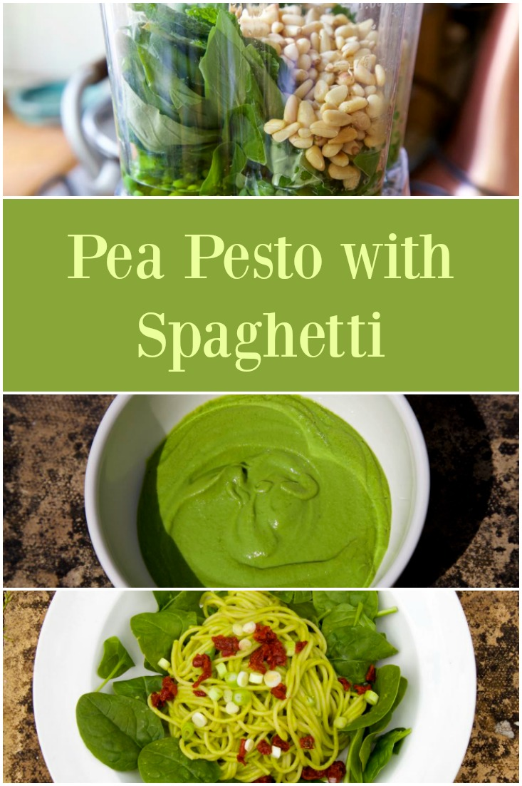 Pea Pesto with Spaghetti - super simple, easy peasy vegetarian food ready in 15 minutes from thinlyspread.co.uk