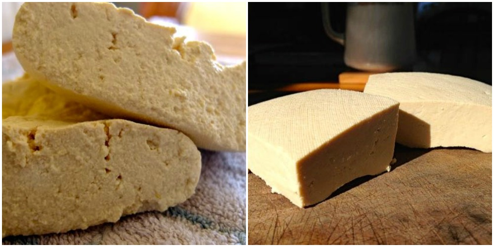 Comparison of pressed and unpressed tofu.