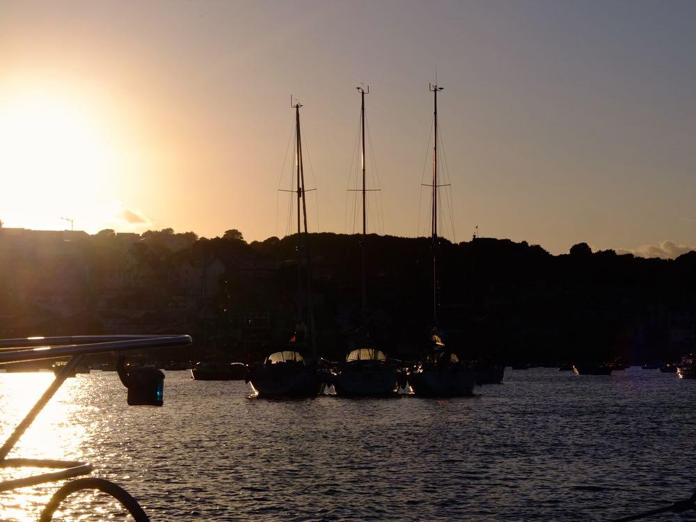 Sailing into Salcombe at sunset.