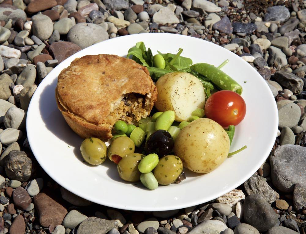 Vegan Picnic Pie with salad.