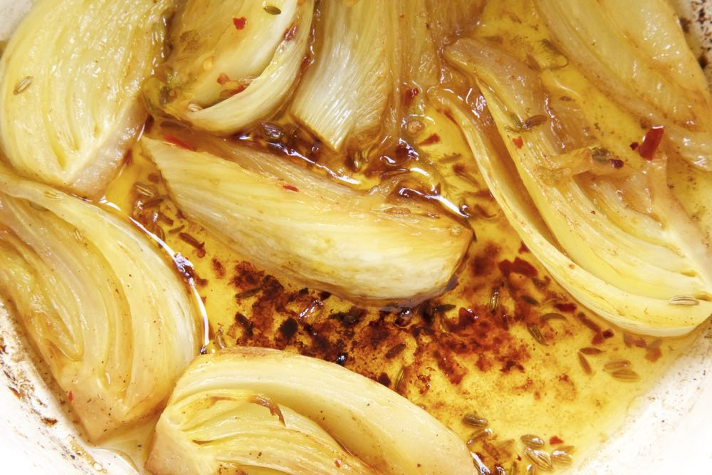 Braised Fennel with butter, chilli and lemon.