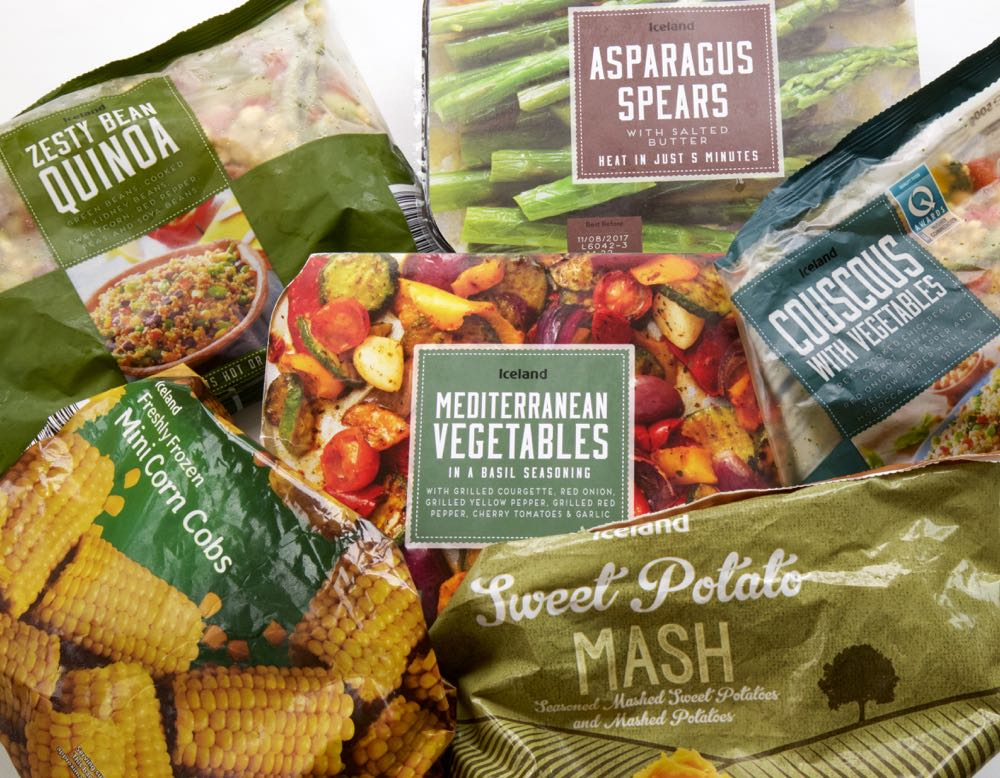 A selection of Iceland Frozen Vegetables.