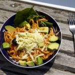 One Pot Pasta Puttanesca on a boat deck.