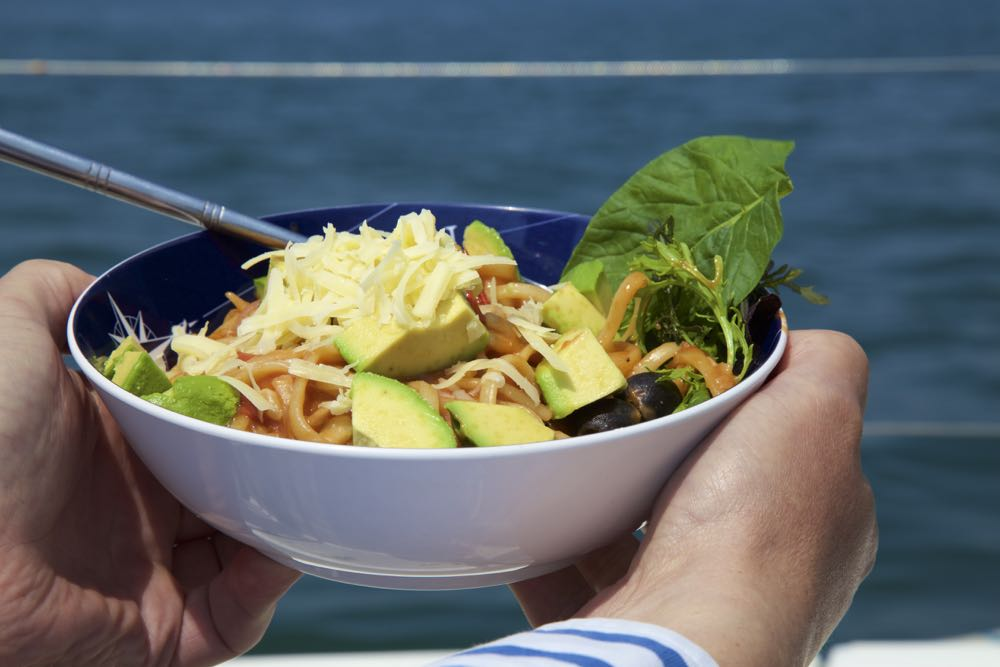 At sea with Vegetarian Puttanesca in a bowl.