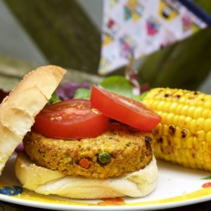 Spiced Couscous and Sweet Potato Burgers.