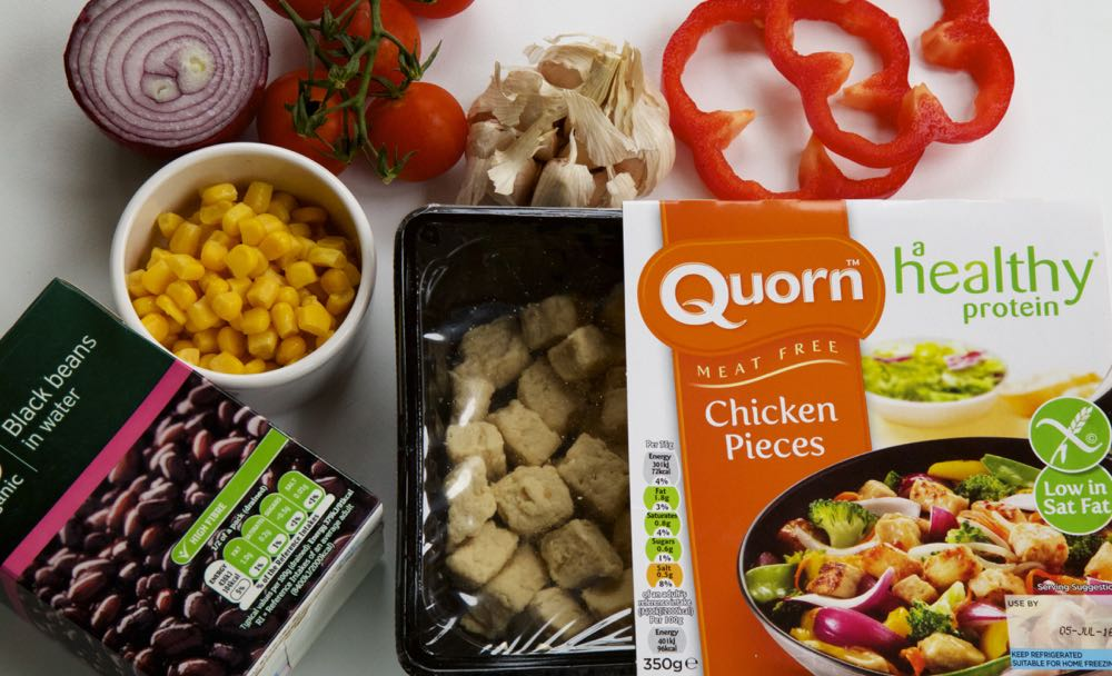 Quorn Meat Free Chicken Pieces and ingredients for enchiladas.