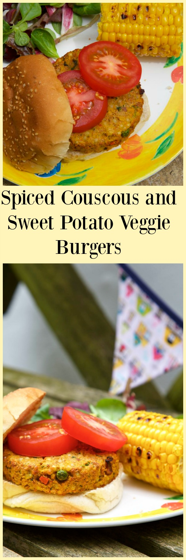 Spiced Couscous and Sweet Potato Veggie Burgers.