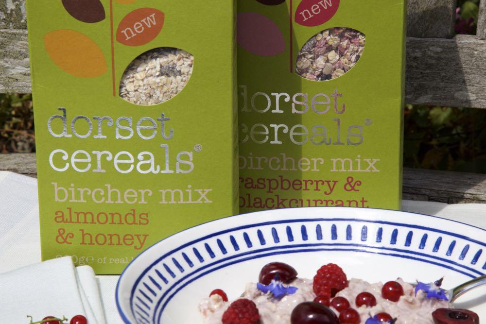 Boxes of Dorset Cereals Bircher Muesli.