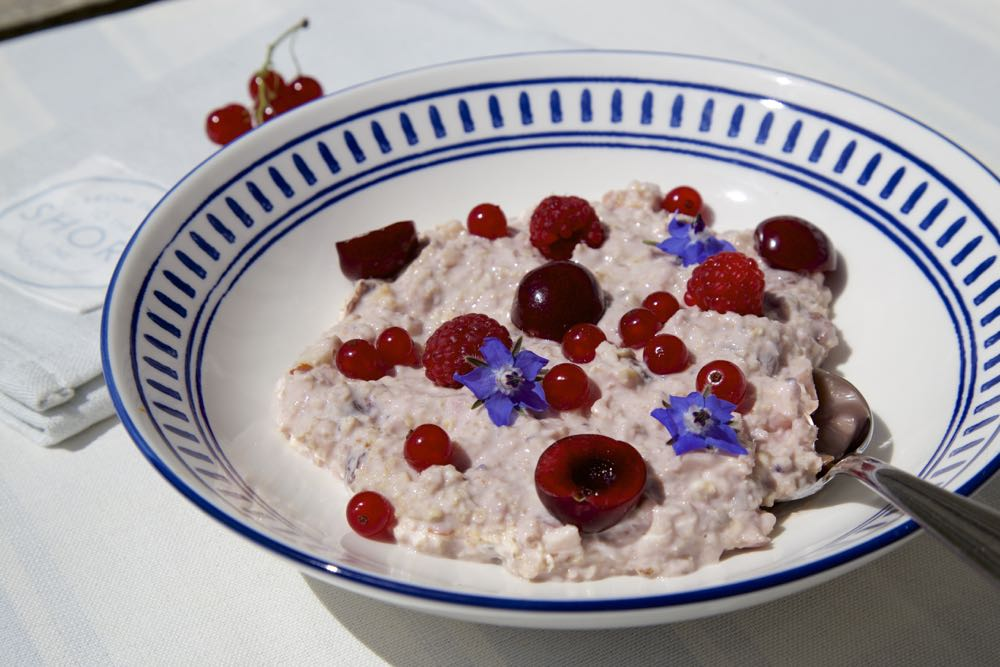 Dorset Cereals Bircher Muesli Breakfast Bowl with fresh Summer Fruit.