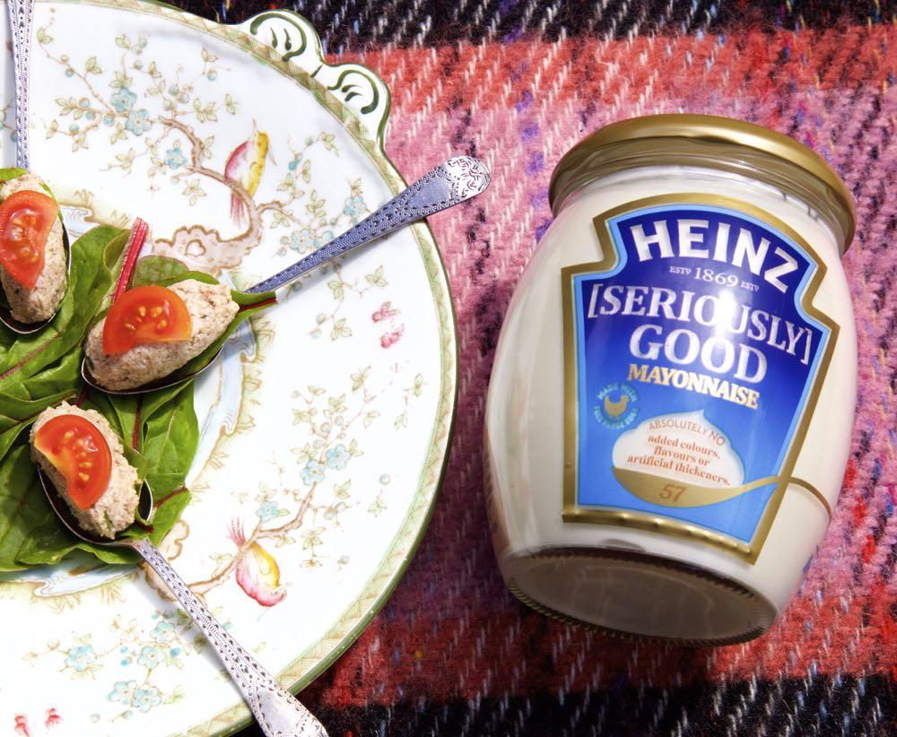 Mushroom, Walnut and Tarragon Mousse, served on teaspoons, alongside Heinz mayonnaise.