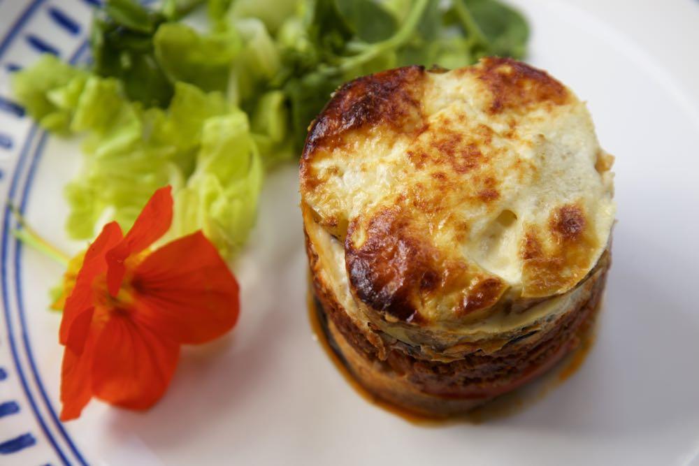 Vegetarian Moussaka with lettuce.