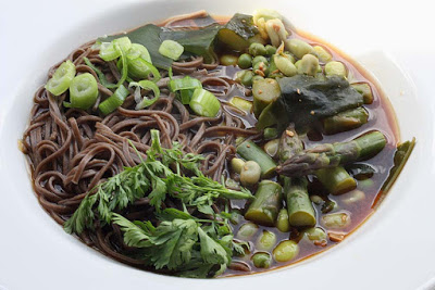 Buckwheat soba noodles with meso and greens.
