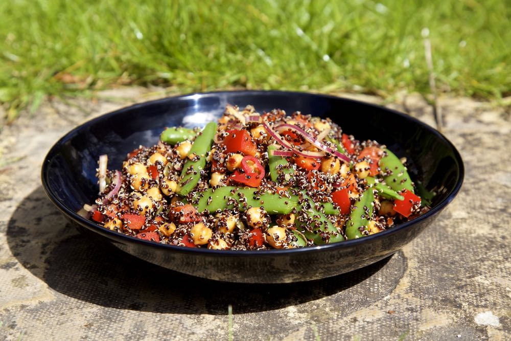 Roast Chickpea and Quinoa Salad with mange toutes and red peppers.