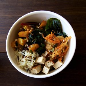 Vegan Kimchi Recipe to add to a Vegan Buddha Bowl with Roasted Squash, Rice, Smoked Tofu, Steamed Ruby Chard and Omega Seed Sprinkle.