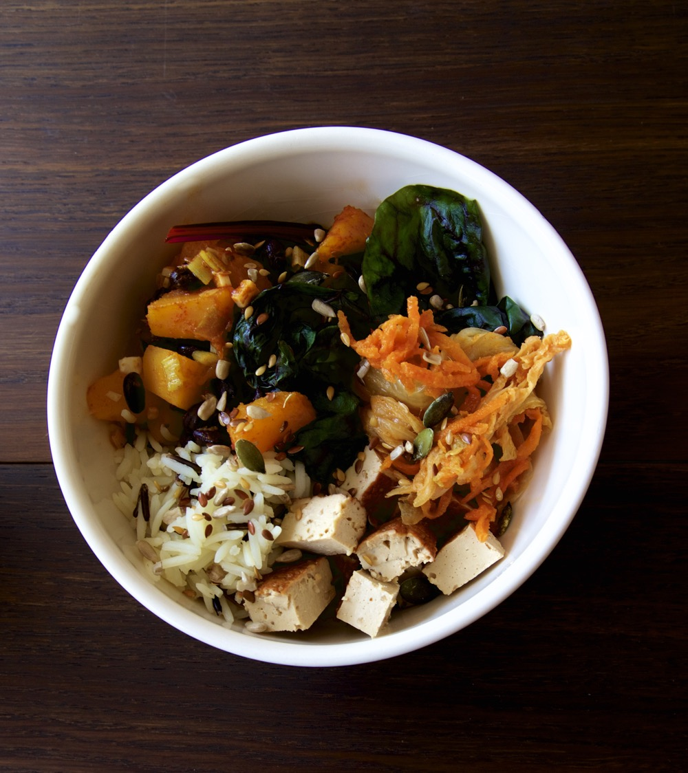 Vegan Kimchi Buddha Bowl Recipe - Vegan Kimchi, Roasted Squash, Rice, Smoked Tofu, Steamed Ruby Chard and Omega Seed Sprinkle.