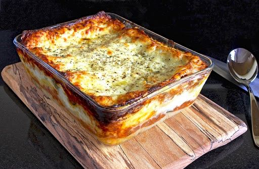 Vegetable Lasagne in a glass dish.