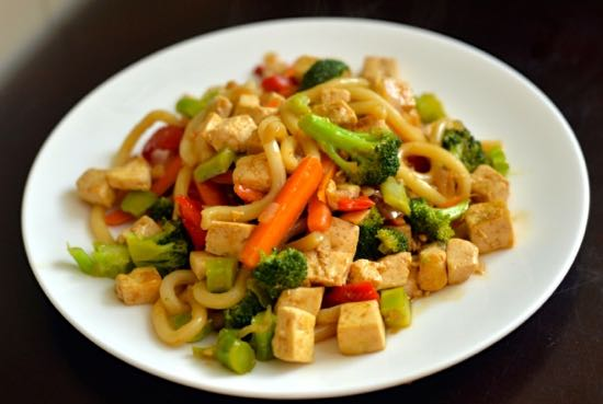 Homemade Ginger Stir Fry Sauce on noodles with veg.