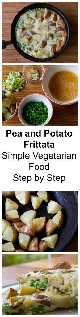 Pea and Potato Frittata, easy, simple vegetarian food for students/those new to vegetarian food/people looking to reduce their meat intake/or just because you want to eat something quick and tasty! Part 1 of a series on thinlyspread.co.uk showcasing the very simplest vegetarian and vegan recipes.