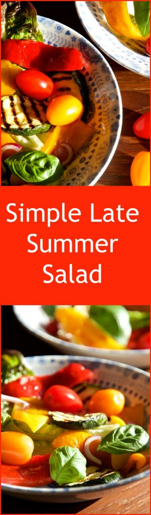 The simplest and tastiest late summer salad - grilled vegetables with basil, green leaves and a balsamic dressing.