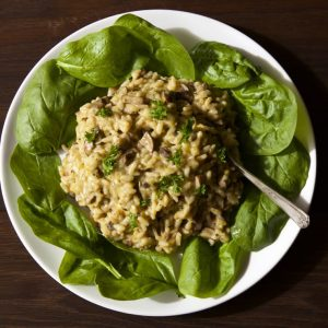Easy Mushroom Risotto - the simplest vegetarian recipes on ThinlySpread.co.uk