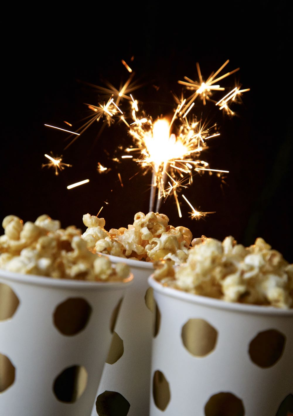 Bonfire Night Toffee Apple Popcorn - Vegan Toffee Apple Popcorn with sparklers