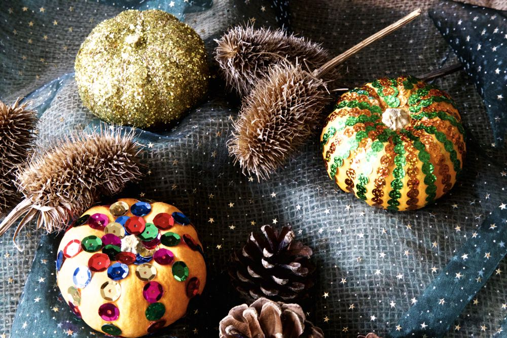 Fabergé Pumpkins decorated with sequins and glitter.