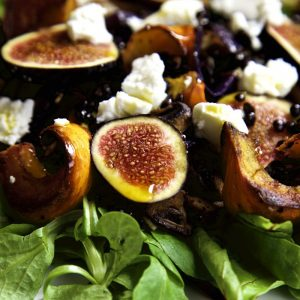 Roasted Pumpkin and Fresh Fig Salad with goat's cheese and chilli oil