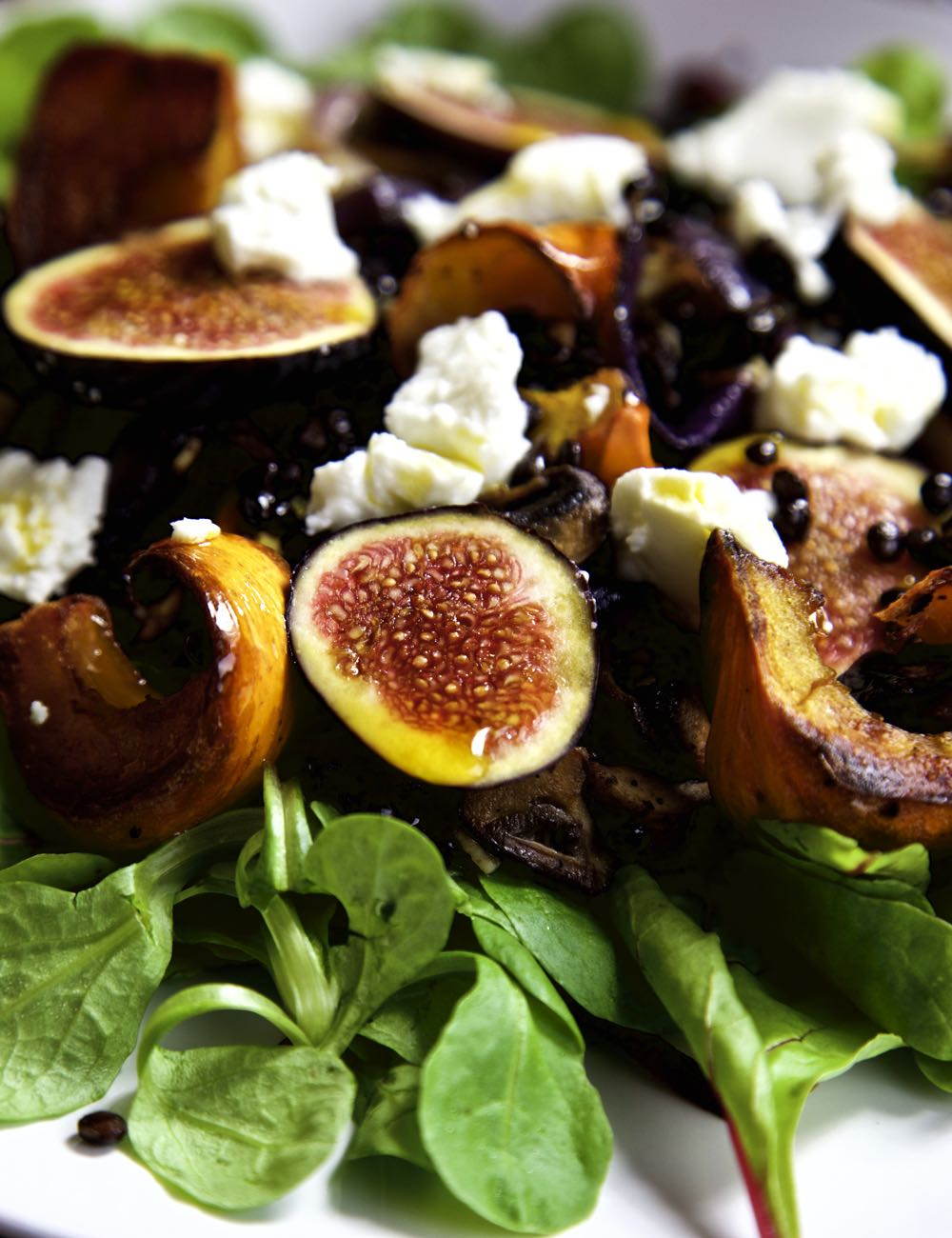 Roasted Pumpin and Fresh Fig Salad with goat's cheese and chilli oil