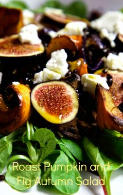 Roasted Pumpkin and Fig Salad with Beluga Lentils, Goat's Cheese and Chilli Oil - a warm autumn salad filled with the flavours of a summer well spent
