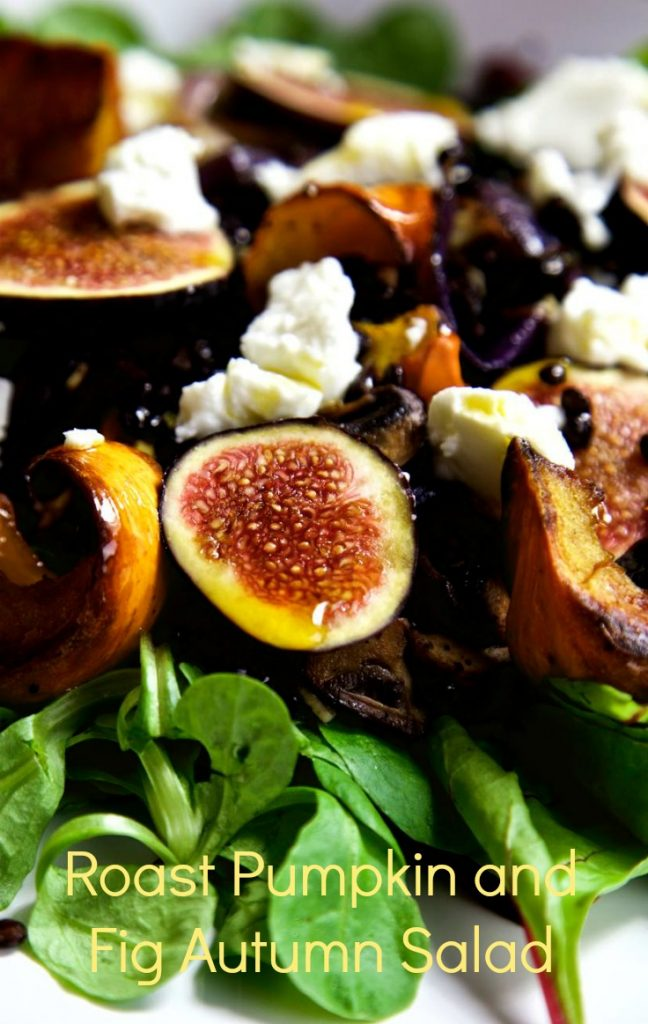 Roasted Pumpkin and Fresh Fig Salad with Beluga Lentils, Goat's Cheese and Chilli Oil.