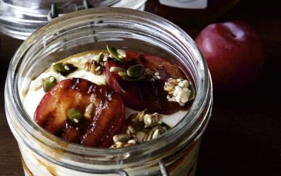 Manuka Honey Glazed Plums with Overnight Oats