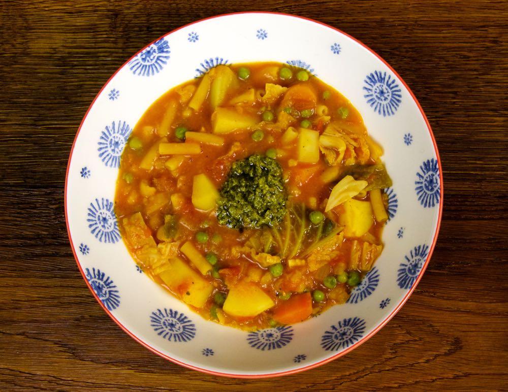 Easy Vegan Minestrone Soup with vegan pesto.