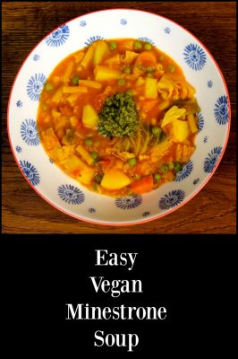 Easy Vegan Minestrone Soup with veg and vegan pesto.