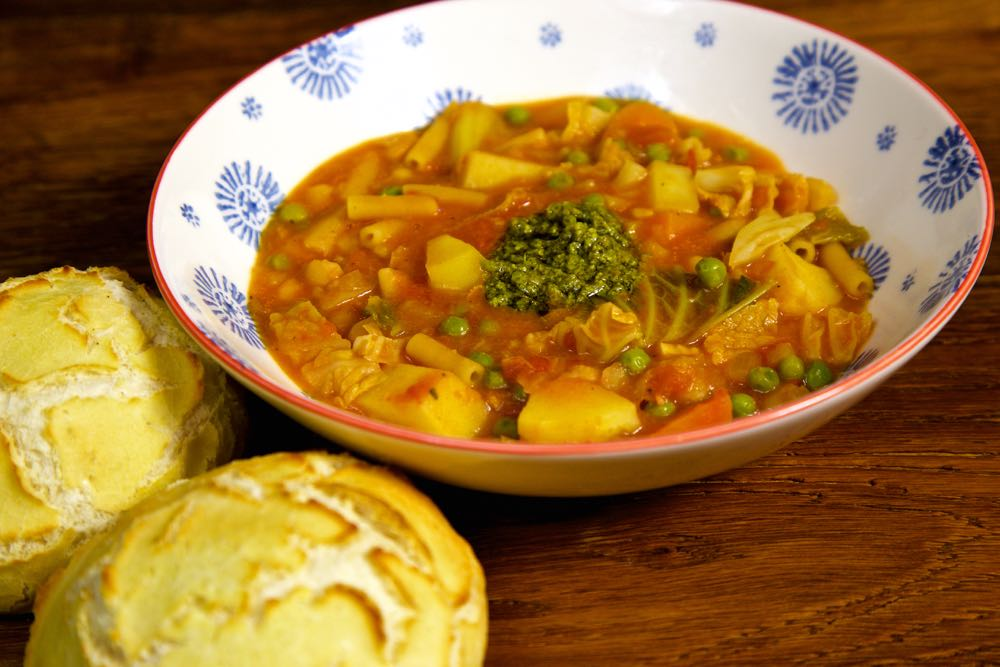 Easy Vegan Minestrone Soup with tiger bread rolls.