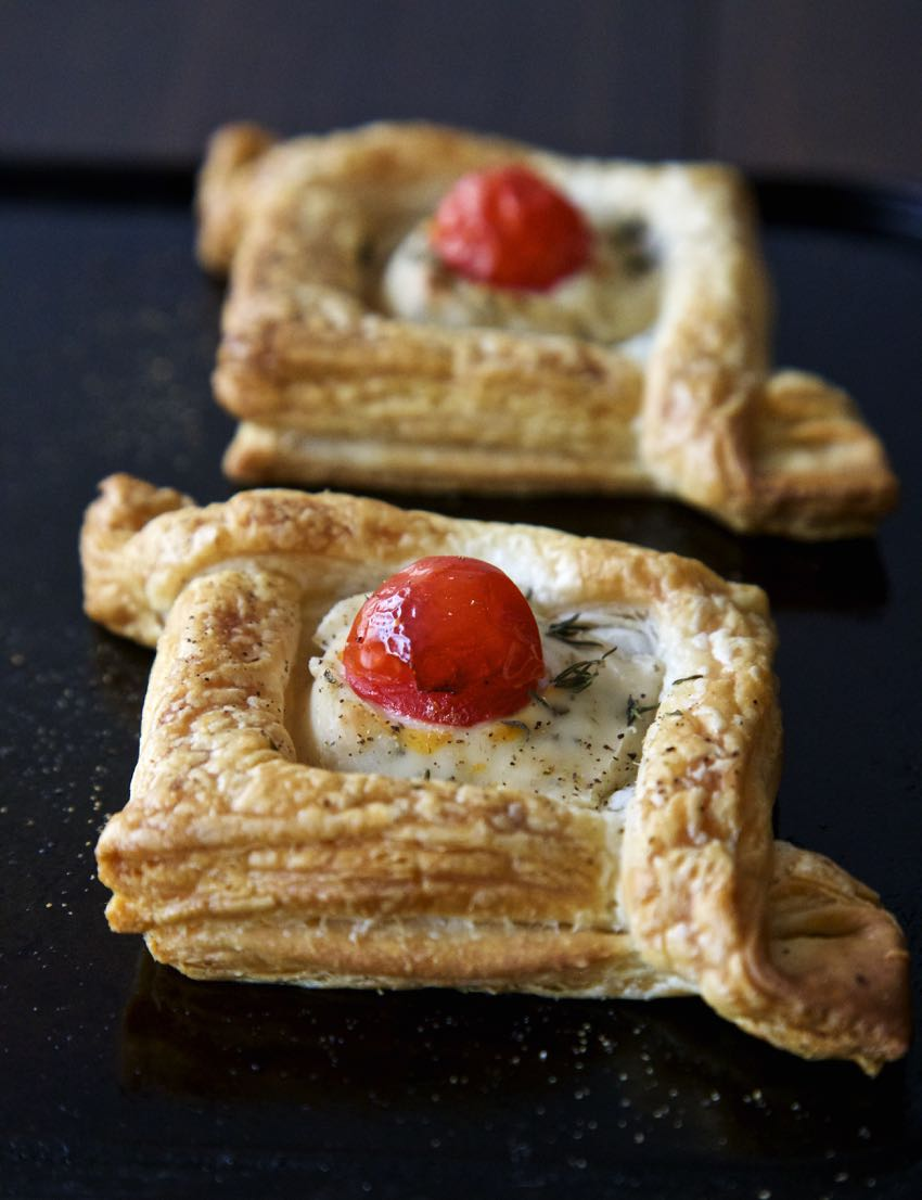 Vegan Puff Pastry Diamonds with Cream Cheese and Cherry Tomato. Bite sized Gift Boxes - perfect Vegan Canapés!