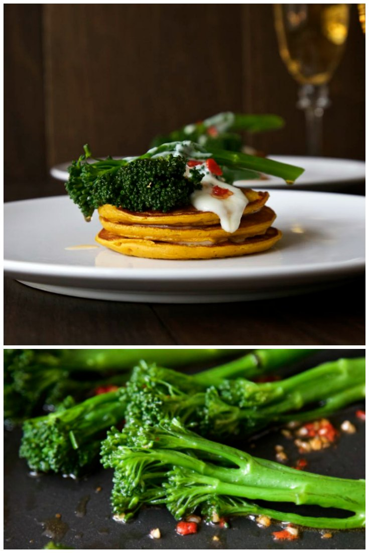Pumpkin Pancakes with Chilli Fried Tenderstem Broccoli and Creamy Somerset Goat's Cheese Sauce.