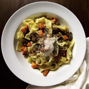 Pappardelle with Pumpkin, Mushrooms, Chestnuts and Sage.