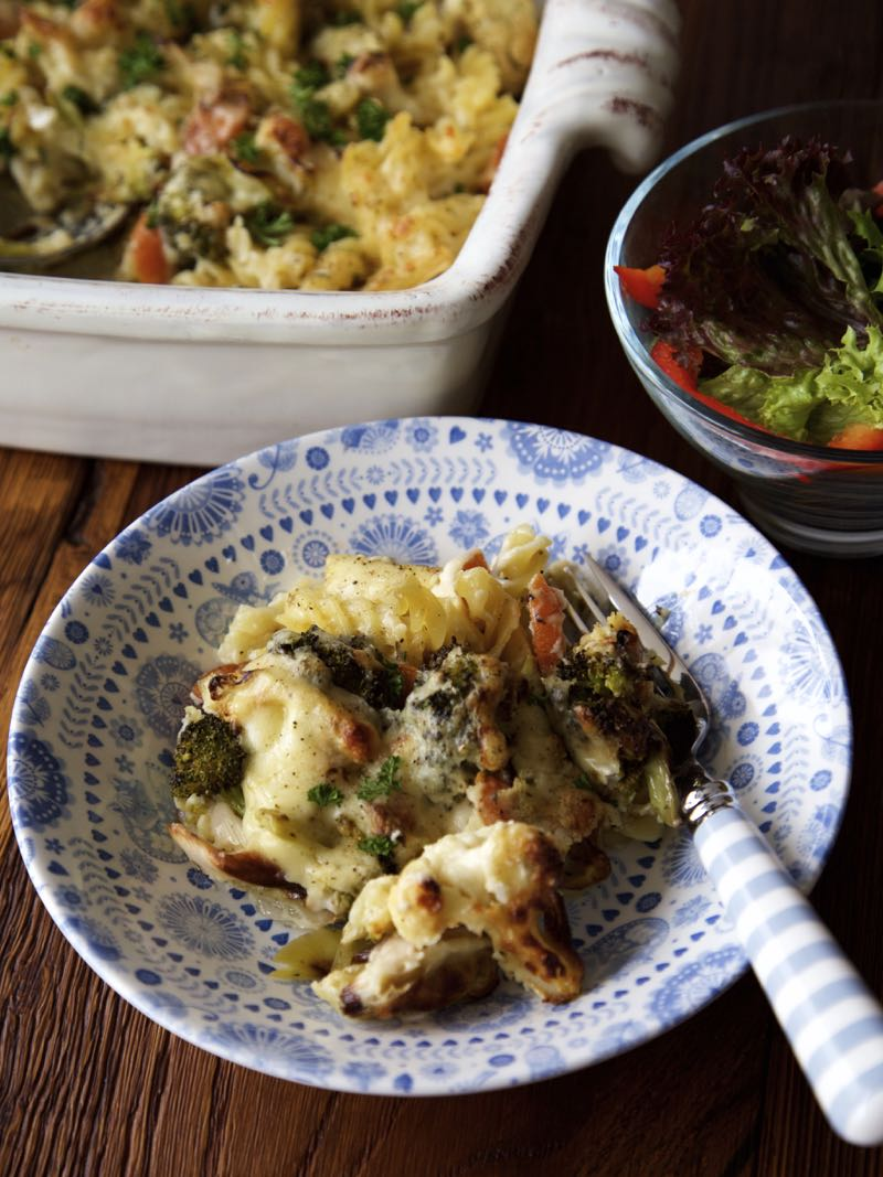 Simple Roasted Vegetable Pasta Bake with seasonal winter veg in a rich cheese sauce.