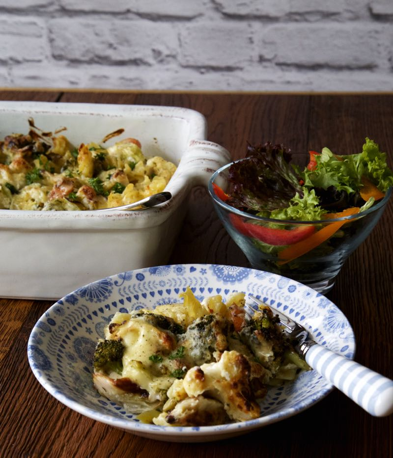 Simple Roasted Vegetable Pasta Bake with seasonal winter veg in a rich cheese sauce. A simple vegetarian dish for an easy weeknight meal!