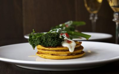 Pumpkin Pancakes with Chilli Fried Tenderstem Broccoli