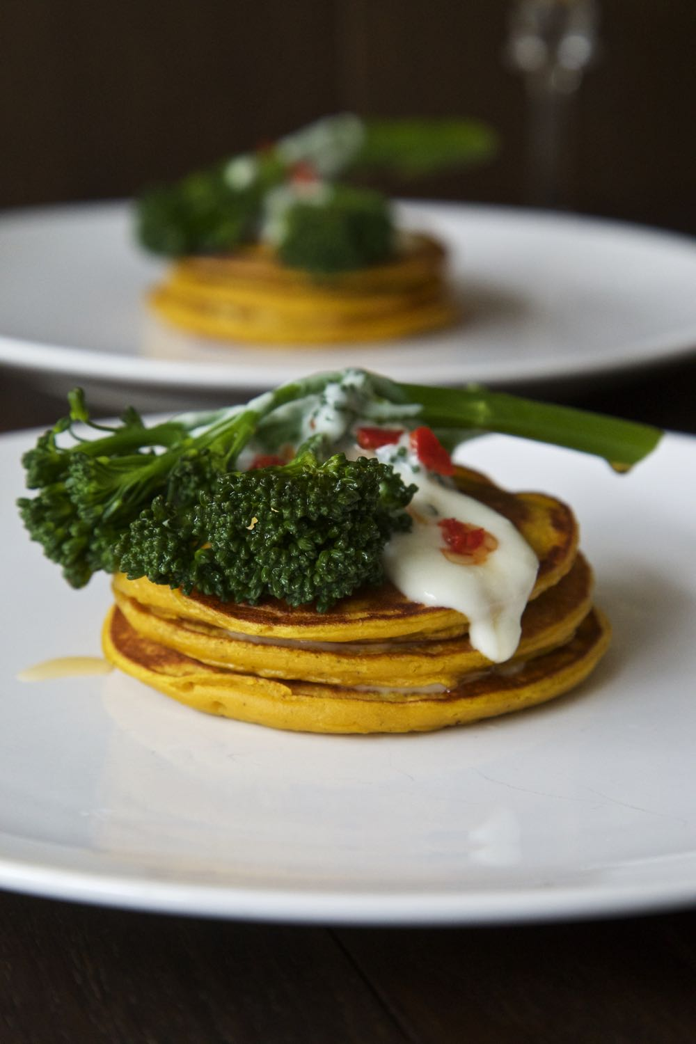 Pumpkin Pancakes with Chilli Fried Tenderstem® Broccoli and Somerset Goat's Cheese.