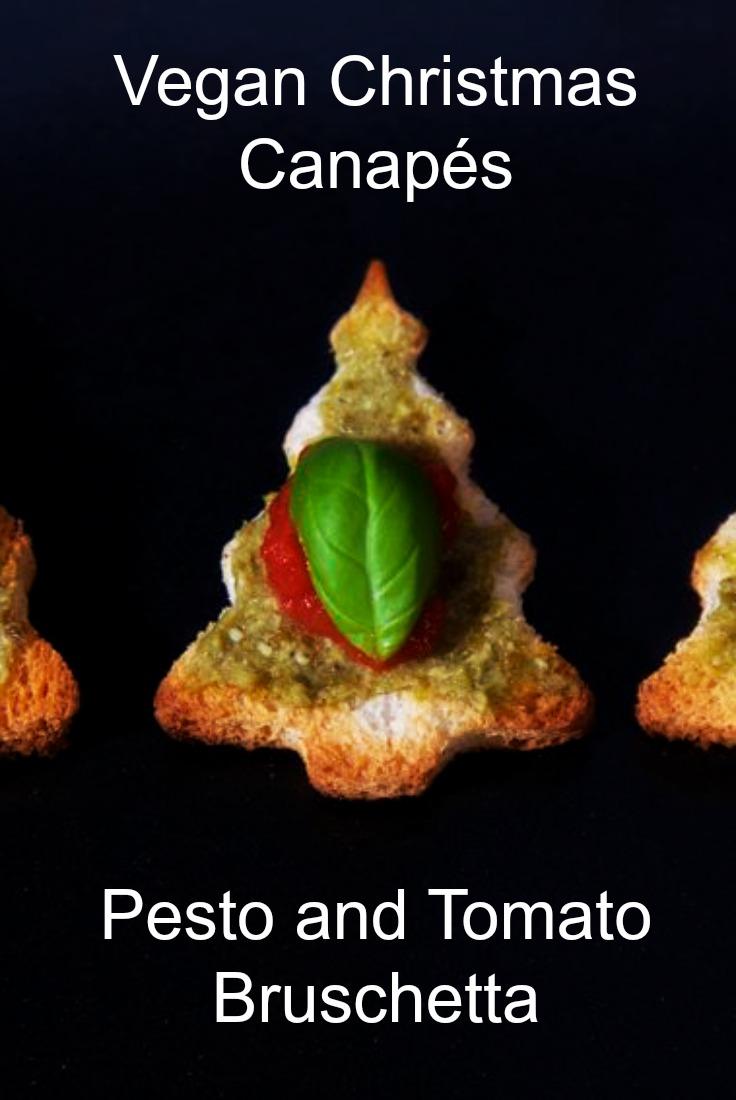 Pesto and Tomato Vegan Bruschetta shaped like little Christmas trees.