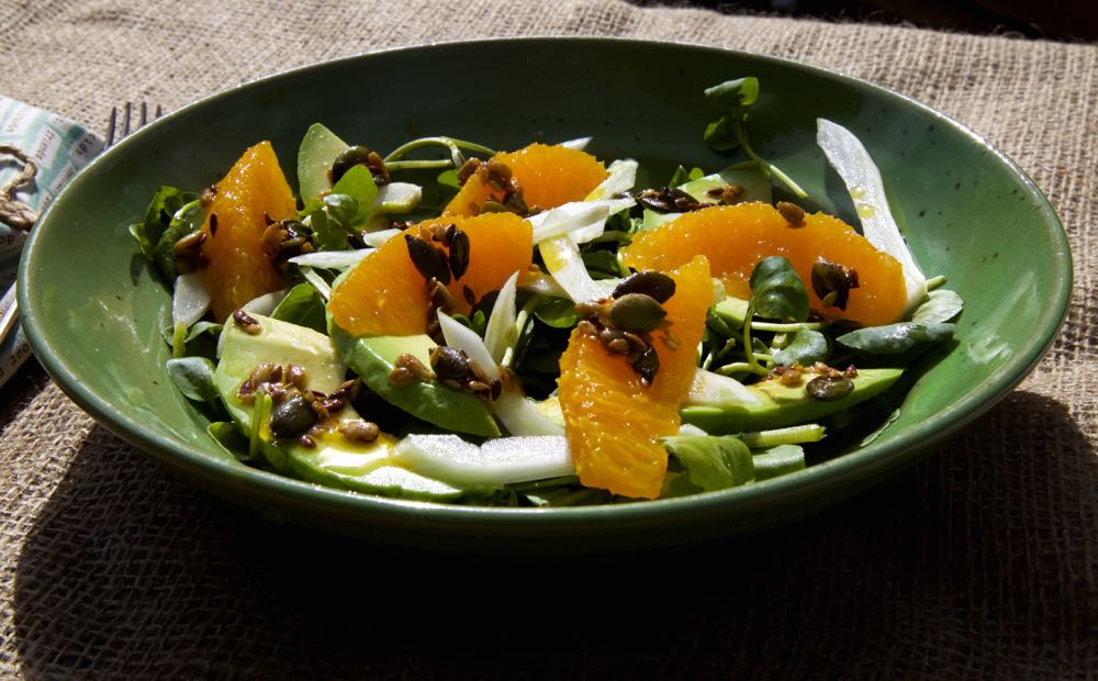 Orange, Fennel and Avocado Salad served in a bowl.