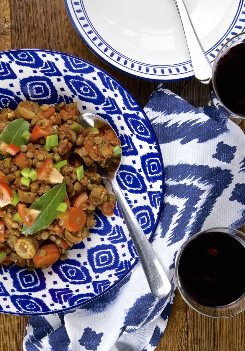 Braised Lentils with Vegetarian or Vegan Sausages, Tomatoes, Green Peppers and Herbs.