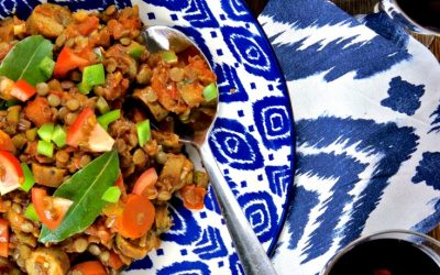 Braised Lentils with Sausages, Tomatoes and Green Peppers (Vegan)