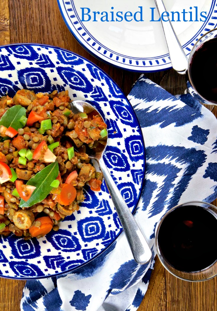Braised Lentils with Vegan or Vegetarian Sausages, Tomatoes, Green Peppers and Herbs