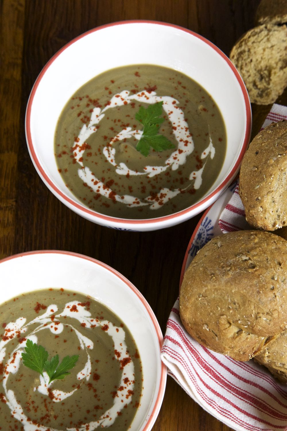 Vegan Cream of Mushroom Soup - So velvety and rich, you won't believe there is no dairy cream hiding in there!