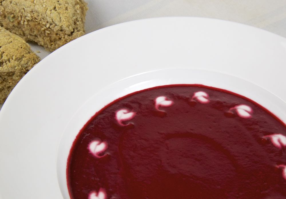 Beetroot Soup with Coconut Hearts for your Vegan Valentine.