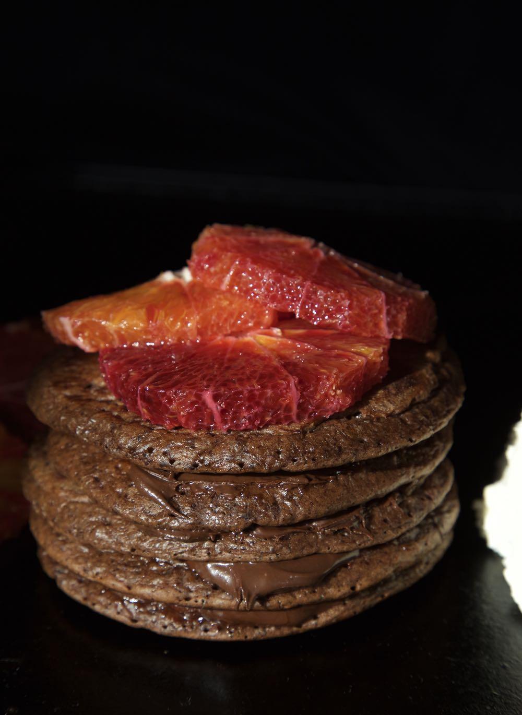 Chocolate Orange Pancakes with Chocolate Hazelnut Spread, Blood Oranges and Orange Blossom Cream.