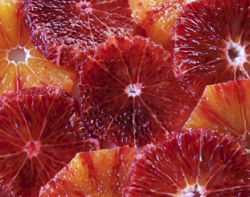 Slices of Blood Oranges.